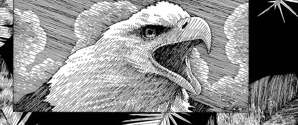 Artwork by Jack Malotte in black white, done with pen of an eagle and eagle feathers floating around.